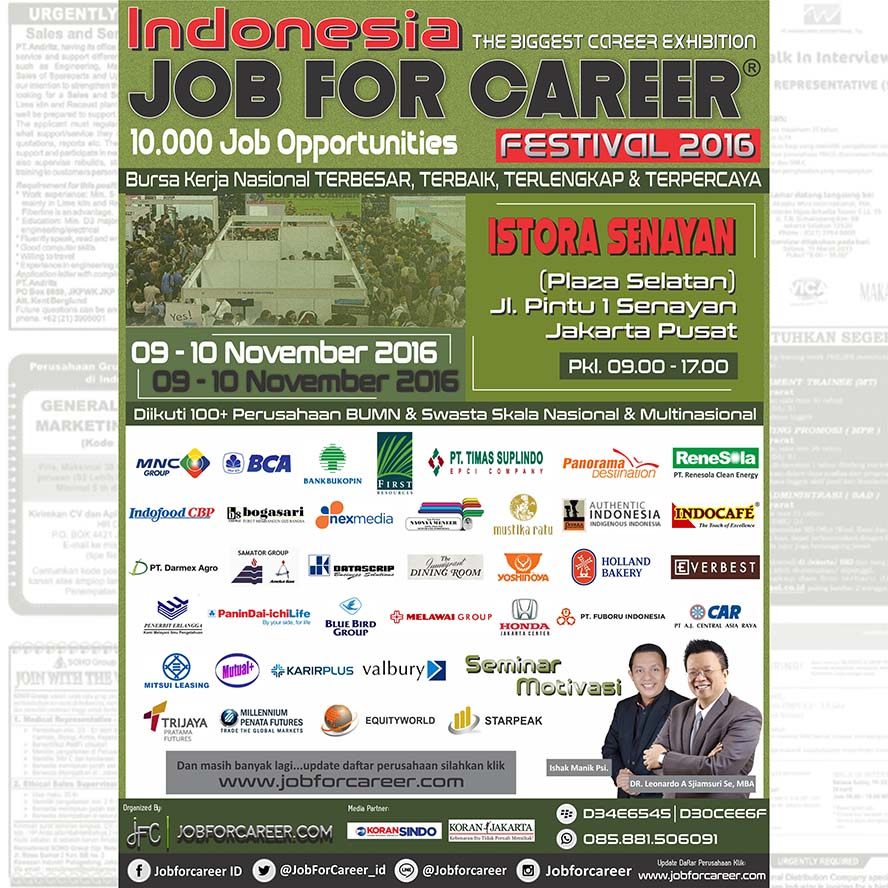 Indonesia Job For Career Festival - Istora Senayan, 09 - 10 November 2016