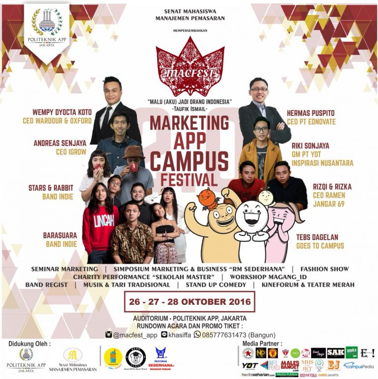 MACFEST 2.0 : Marketing APP Campus Festival - Politeknik APP Jakarta, 26 - 28 Oktober 2016