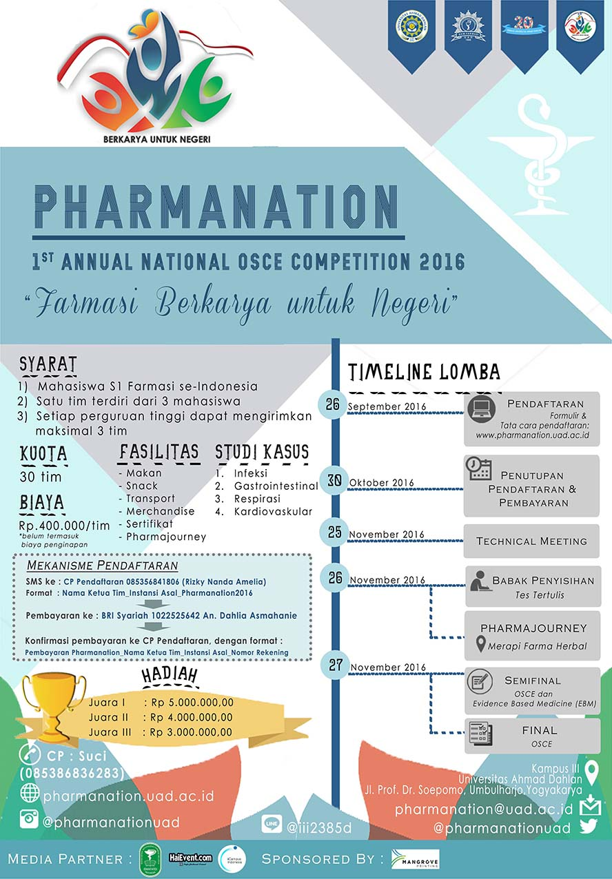 "Pharmanation 2016 ""1st Annual National Osce Competition"" - Universitas Ahmad Dahlan"