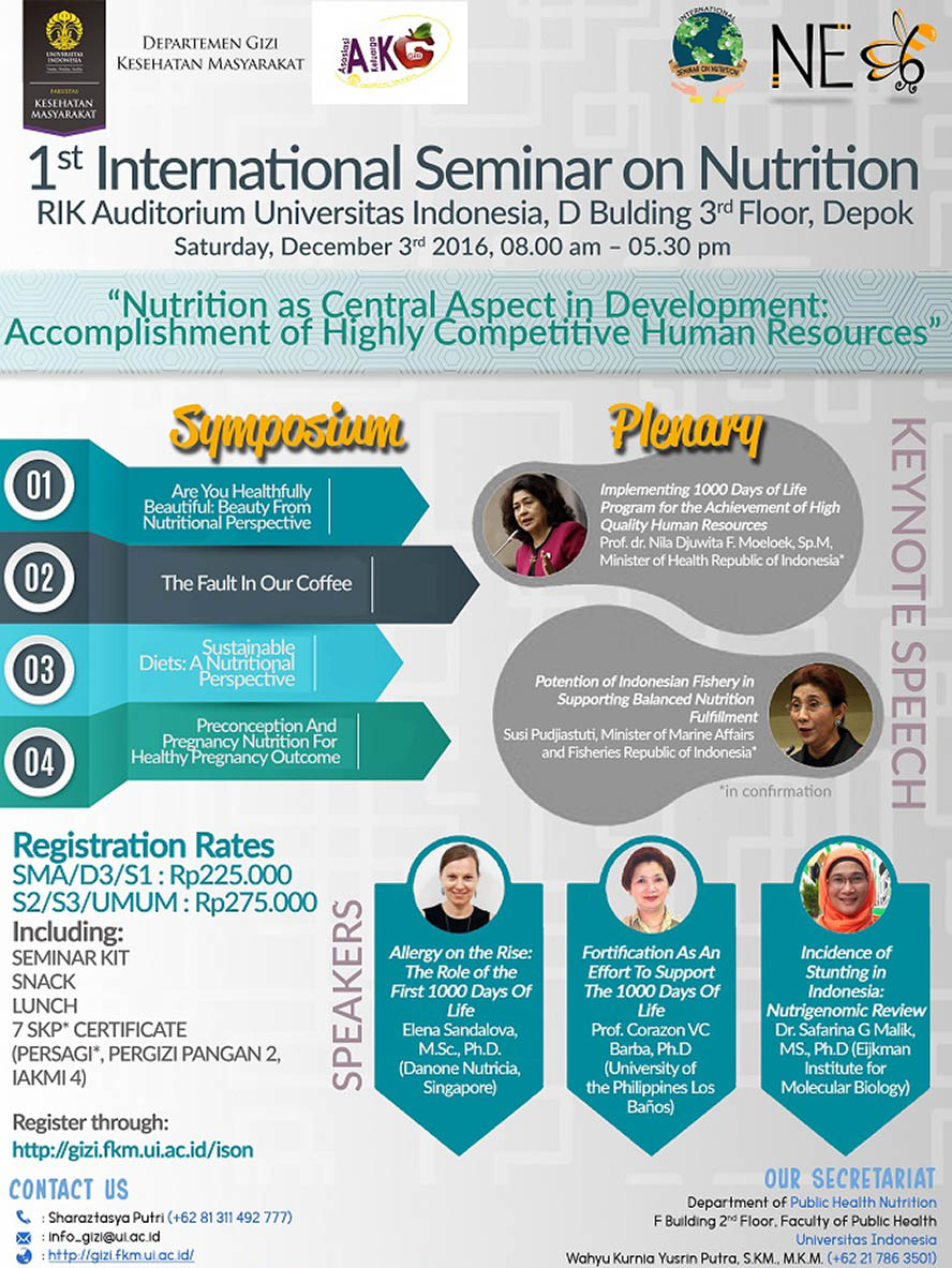 1st International Seminar on Nutrition - Universitas Indonesia, 3 Desember 2016