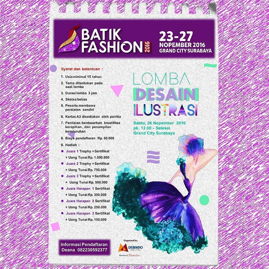 Batik Fashion 2016 : Lomba Desain Ilustrasi – Grand City Surabaya, 26 Nov'16