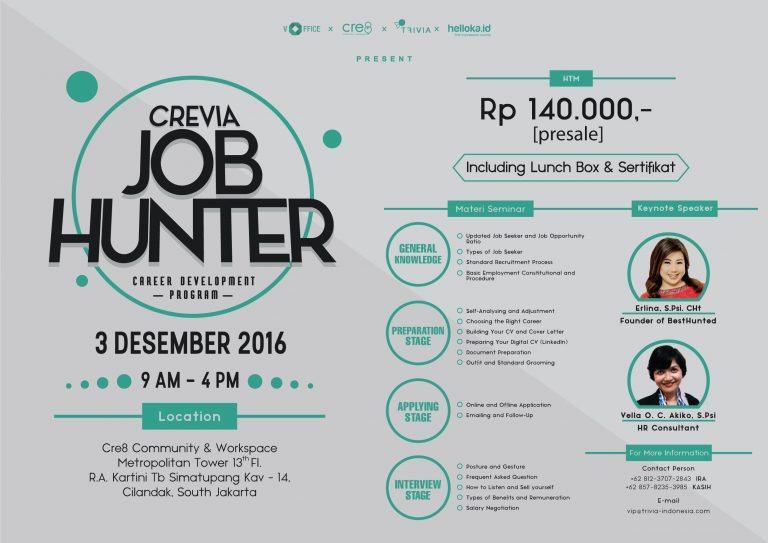 Crevia Job Hunter Training & Workshop - Cre8 Metropolitan Tower Jakarta, 3 Desember 2016