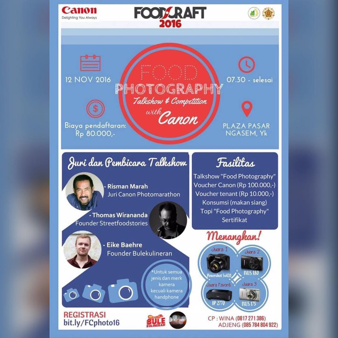 Food Photography Talkshow and Competition with Canon - Plaza Pasar Ngasem, 12 November 2016