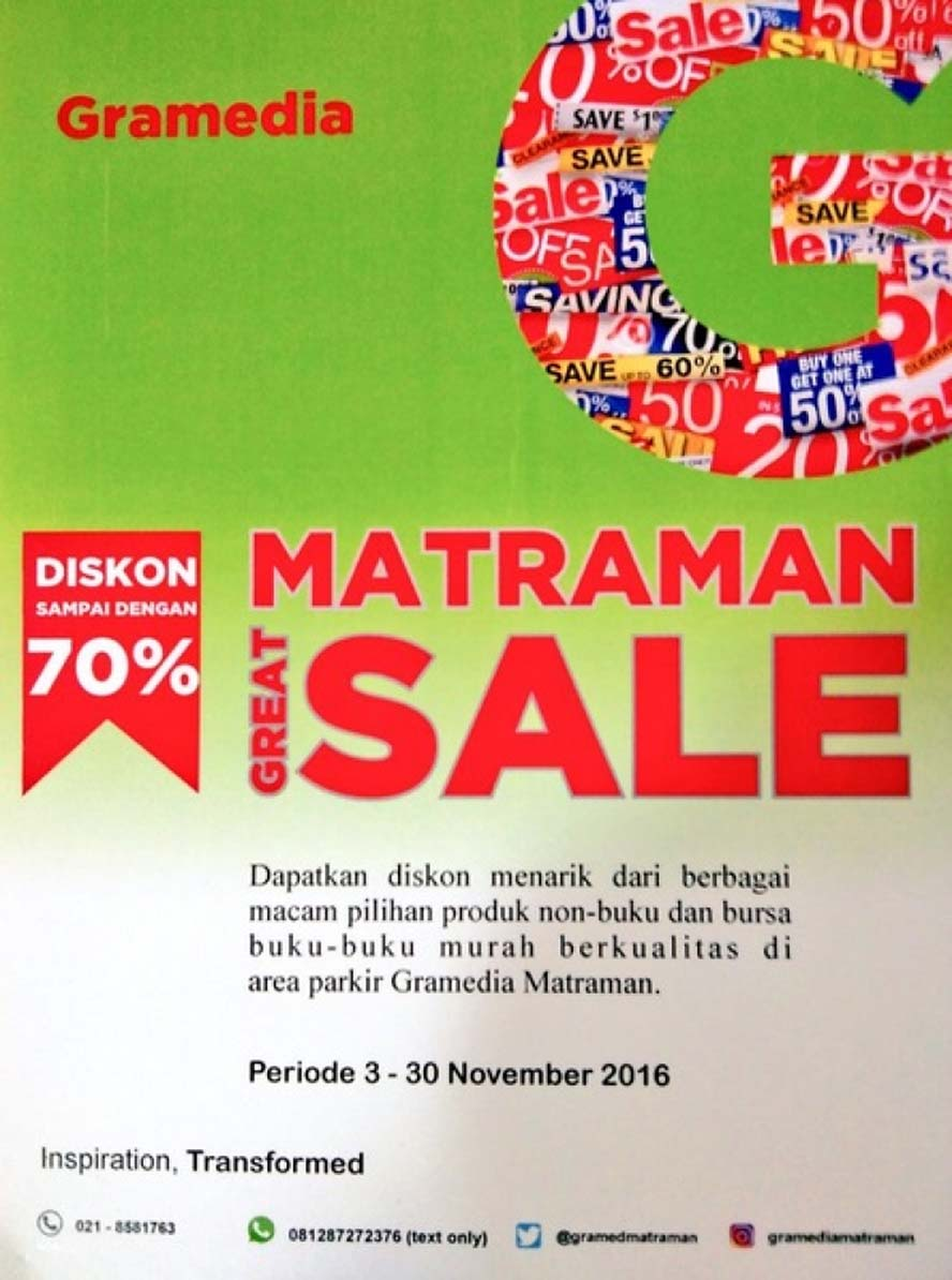 Gramedia Matraman Great Sale, Periode 3 - 30 November 2016