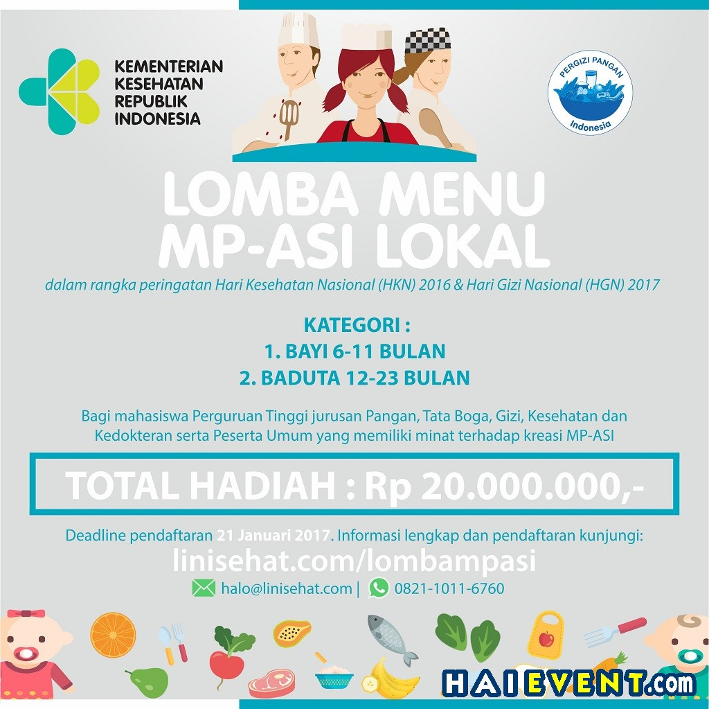 Lomba Menu MP-ASI Lokal, 20 November 2016 - 21 Januari 2017