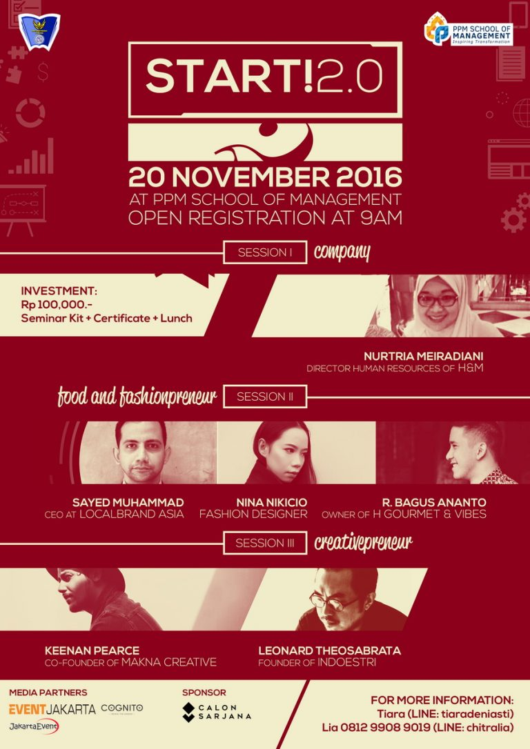 START! 2.0 - PPM School of Management Jakarta, 20 November 2016