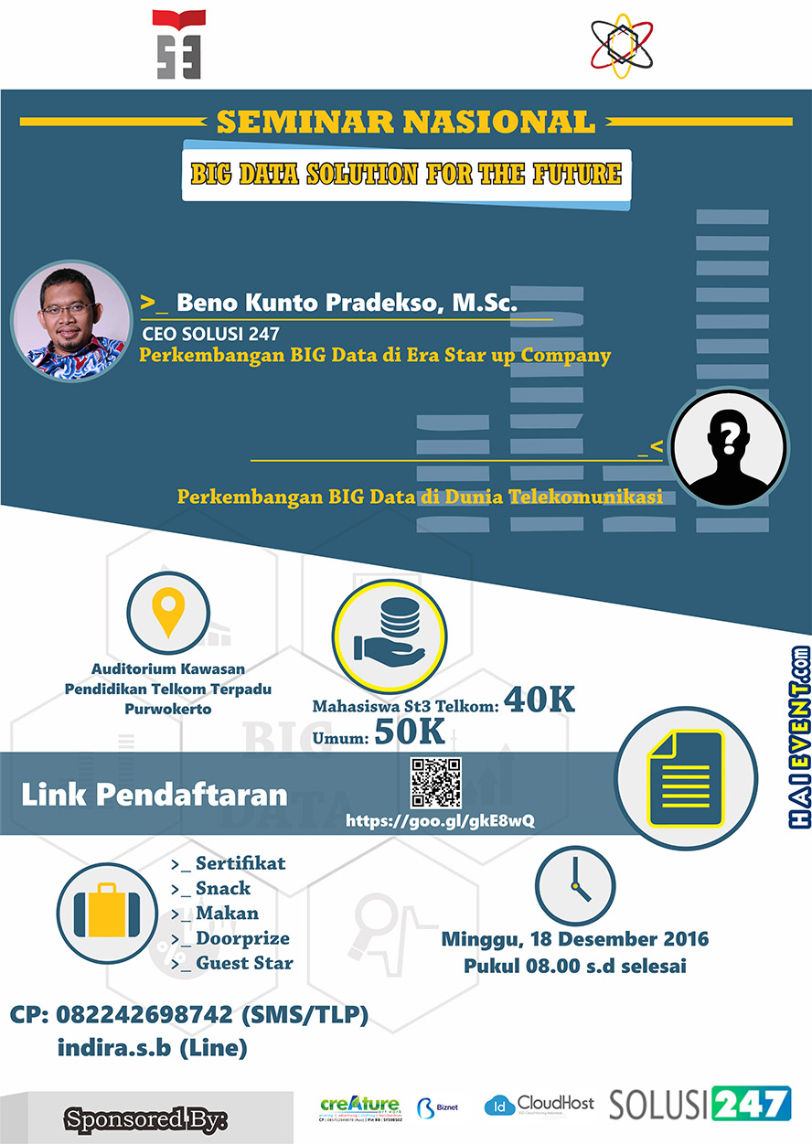 "Seminar Nasional ""Big Data Solusion for the Future"" - ST3 Telkom Purwokerto, 18 Desember 2016"
