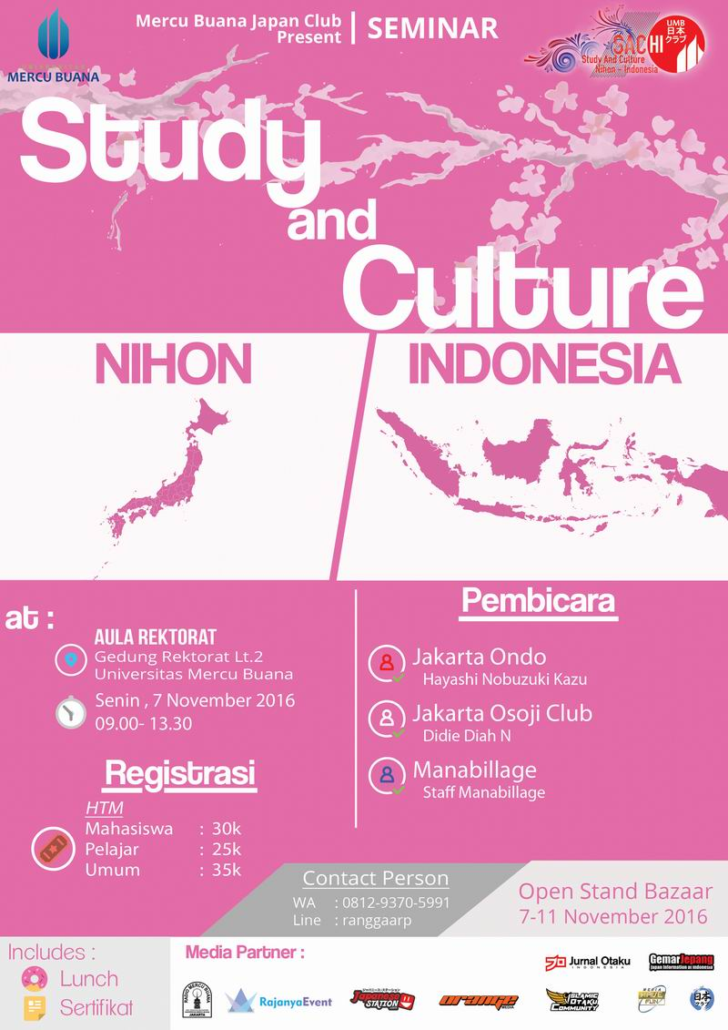 Study And Culture Nihon Indonesian (SACHI) - Universitas Mercubuana Jakarta, 7 - 11 November 2016