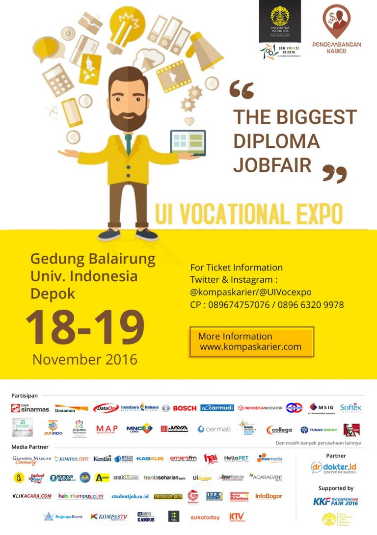 "UI Vocational Expo ""The Biggest Diploma Job Fair"" - Balairung Universitas Indonesia, 18 - 19 Nov 2016"