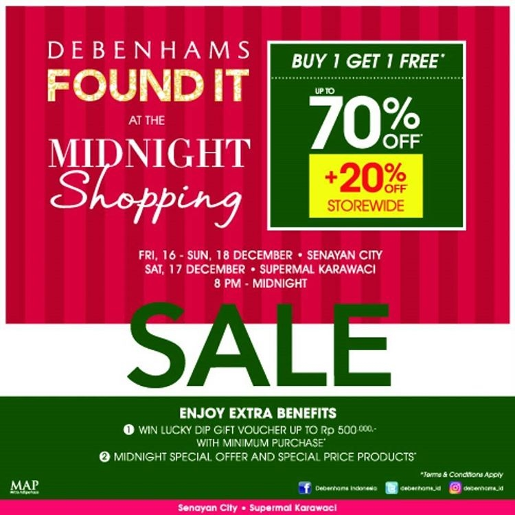 Debenhams Midnight Shopping, Periode 16 - 18 Desember 2016