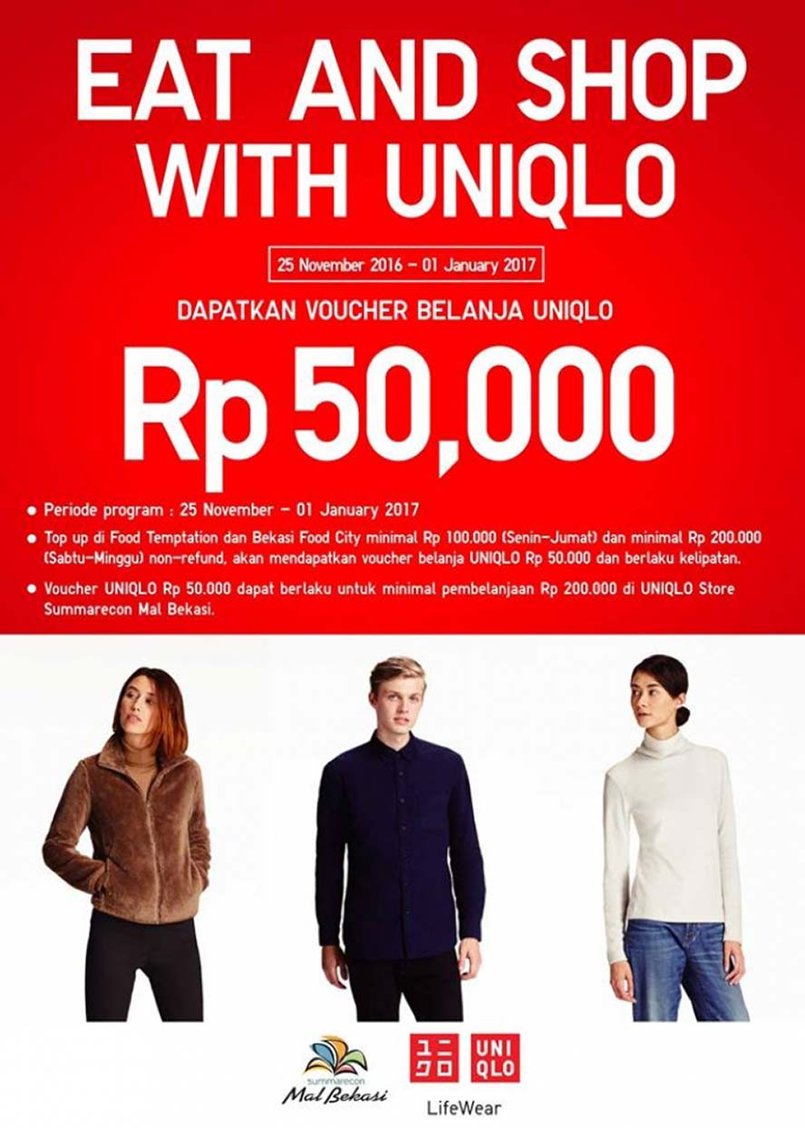 Eat and Shop with Uniqlo - Summarecon Mal Bekasi, Periode Sampai 1 Jan 2017