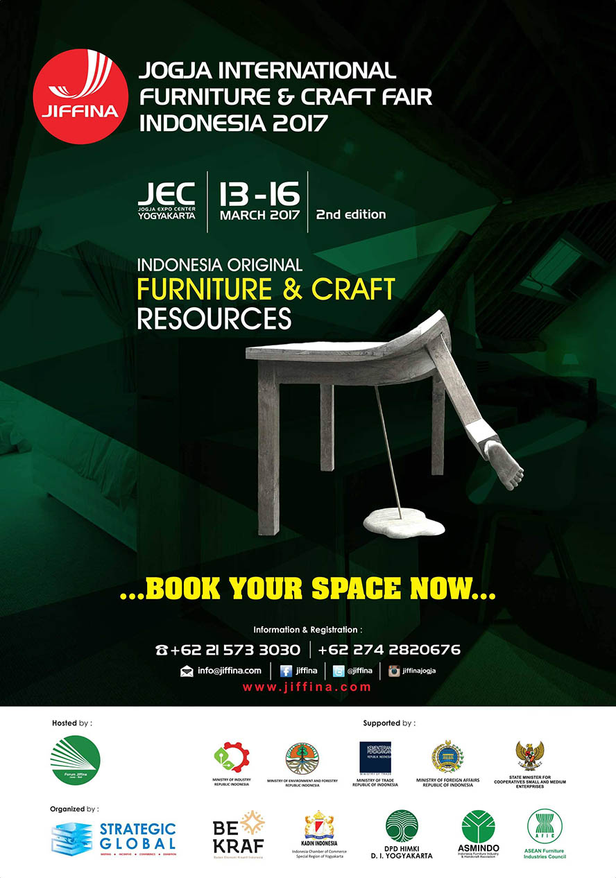 Jogja International Furniture & Craft Fair Indonesia (JIFFINA) - Jogja Expo Center, 13 - 16 Maret 2017