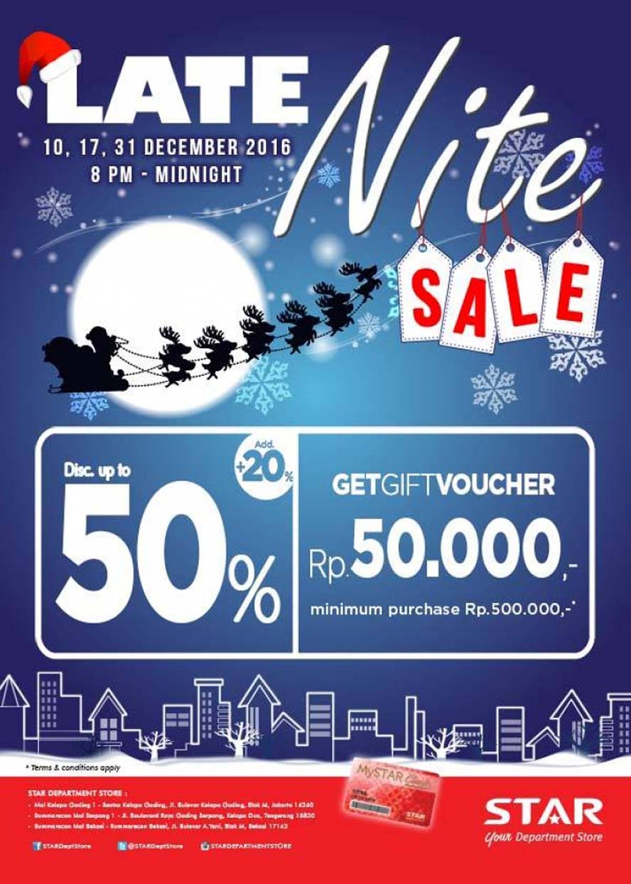Star Department Store Late Nite Sale, Periode Desember 2016