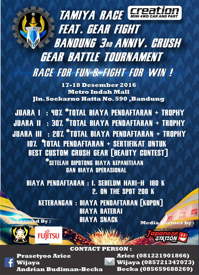 Tamiya Race and Crush Gear Battle Tournament - Metro Indah Mall Bandung, 17 - 18 Desember 2016