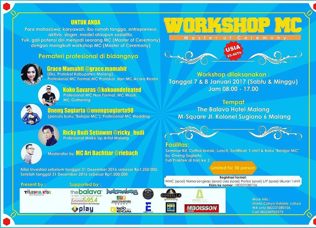 Workshop MC (Mater of Ceremony) - The Balava Hotel Malang, 7 - 8 Januari 2017