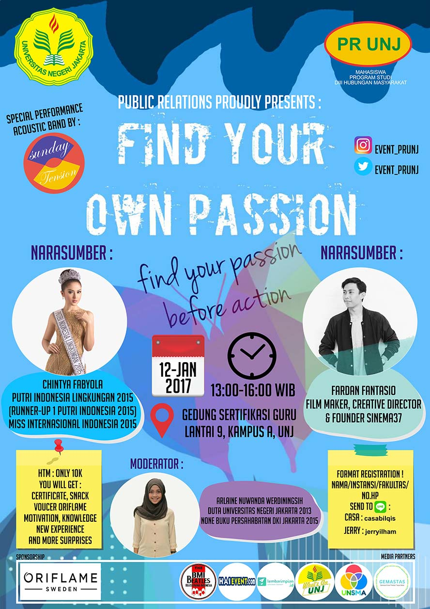Find Your Passion Before Your Action - Universitas Negeri Jakarta, 12 Januari 2017