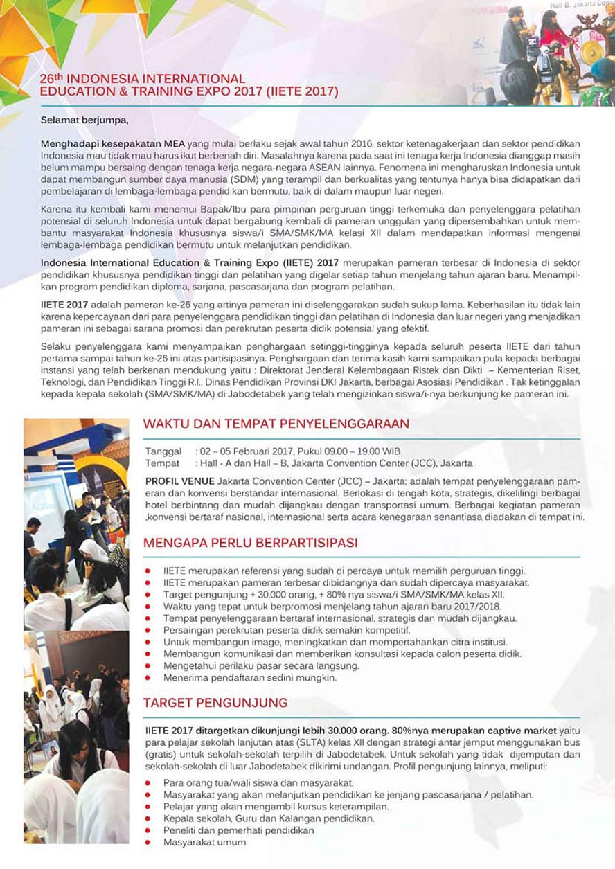 Indonesia International Education & Training Expo - Jakarta Convention Center (JCC), 2 - 5 Februari 2017