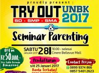 Try Out dan Seminar Parenting - Cinere Bellevue Mall, 28 Januari 2017