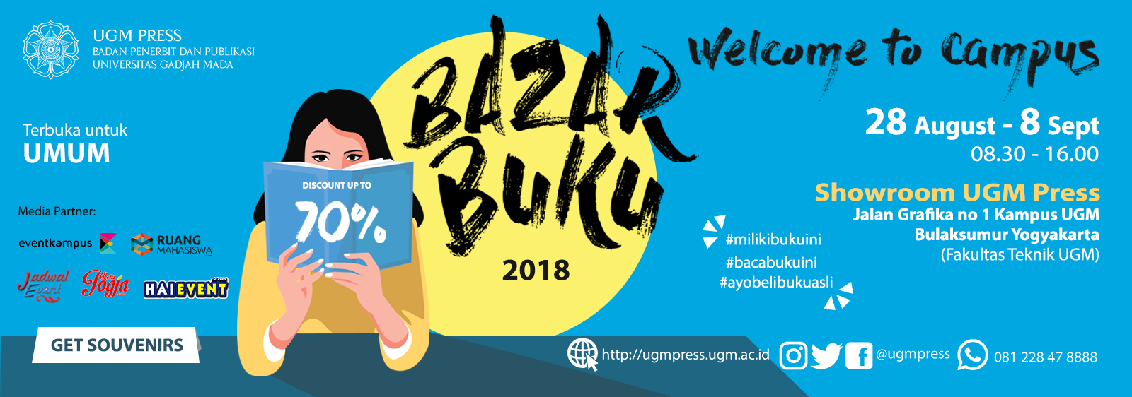 Bazar Buku Welcome to Campus - Showroom UGM Press, 28 Agustus - 08 September 20181