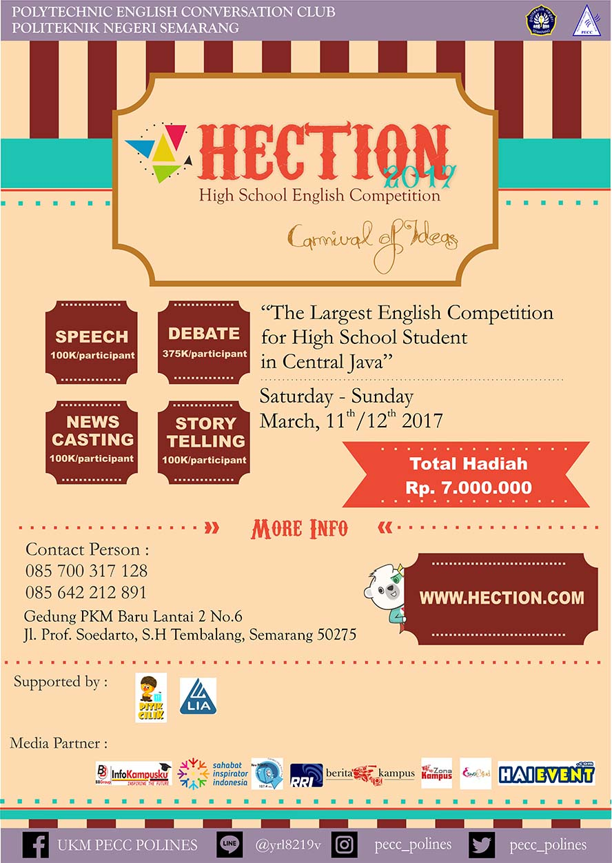 HECTION (High School English Competition) - Politeknik Negeri Semarang, 11 - 12 Maret 2017HECTION (High School English Competition) - Politeknik Negeri Semarang, 11 - 12 Maret 2017
