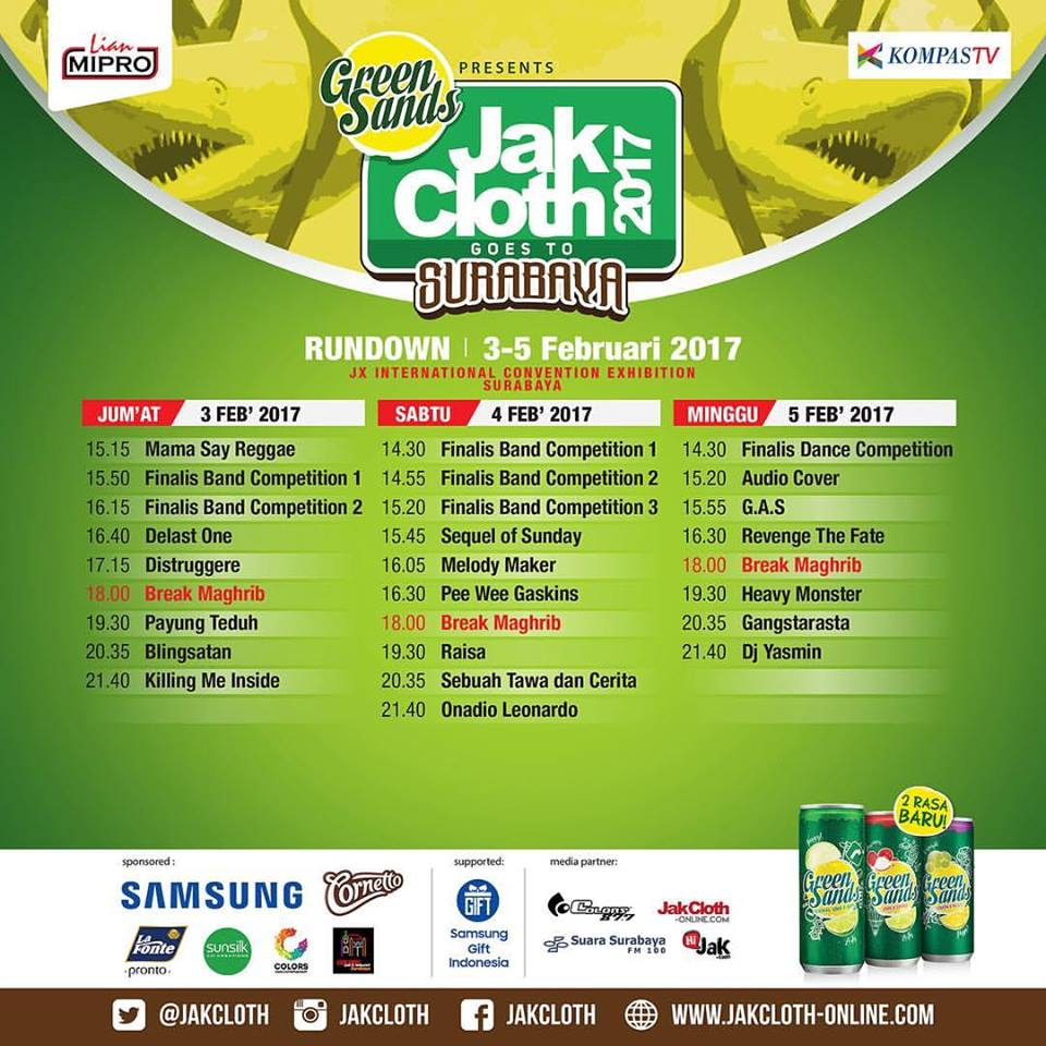 Rundown Jakcloth Goes To Surabaya (JGTS), 3 - 5 Februari 2017