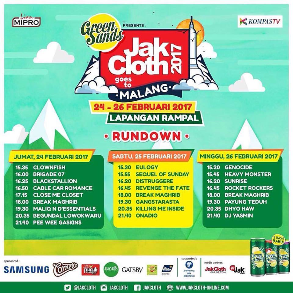 Rundown JakCloth Goes to Malang, 24 - 26 Februari 2017