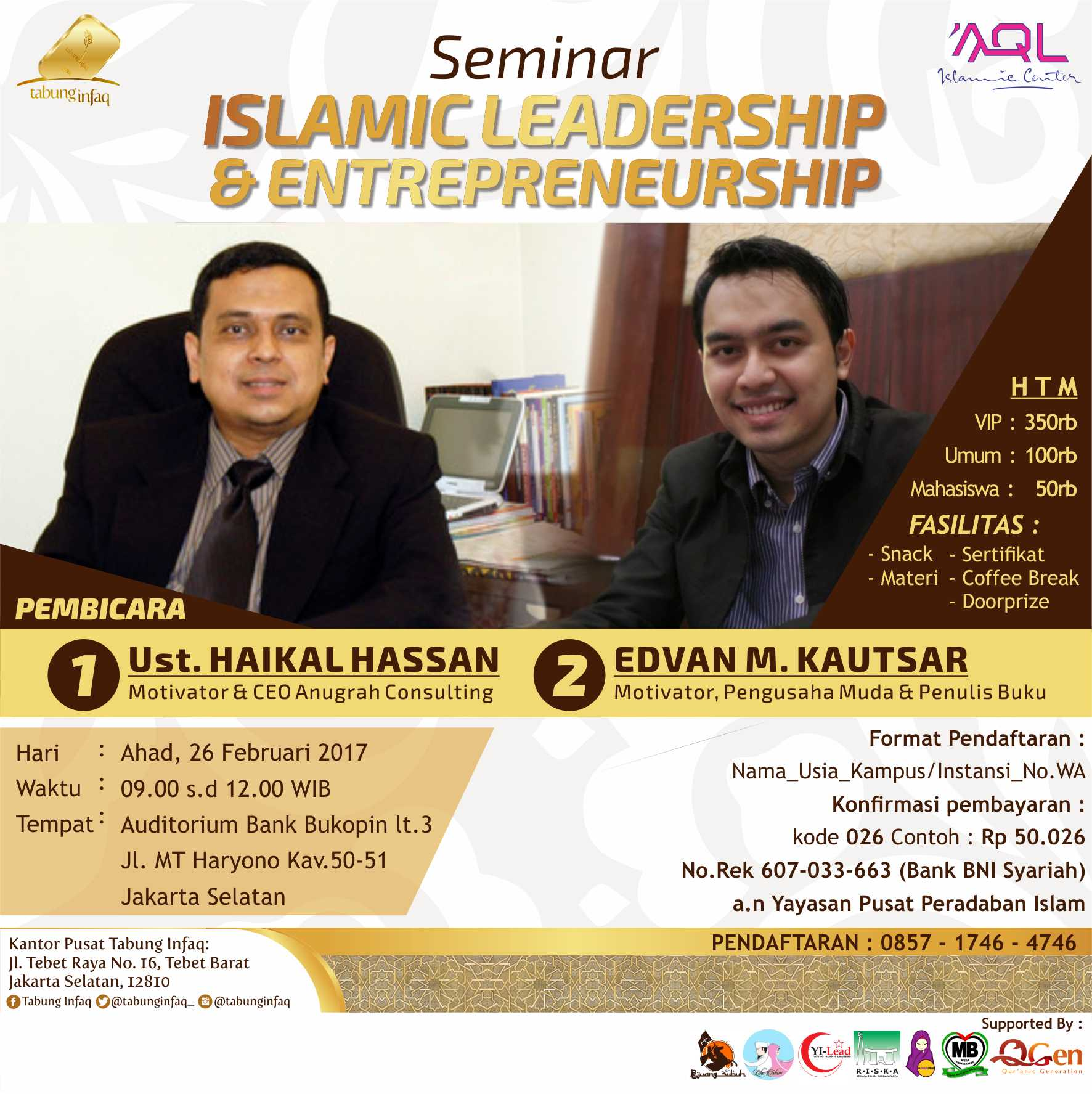 Seminar Islamic Leadership & Entrepreneur - Auditorium Bank Bukopin Jakarta, 26 Februari 2017