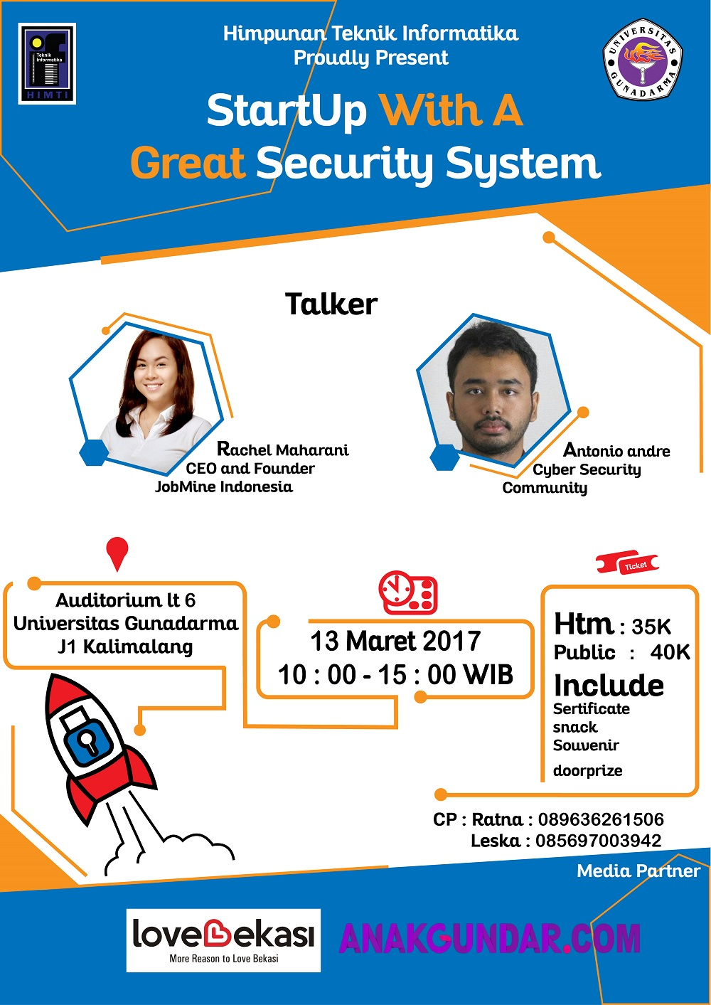Startup With A Great Security System - Kampus J1 Universitas Gunadarma Bekasi, 13 Maret 2017