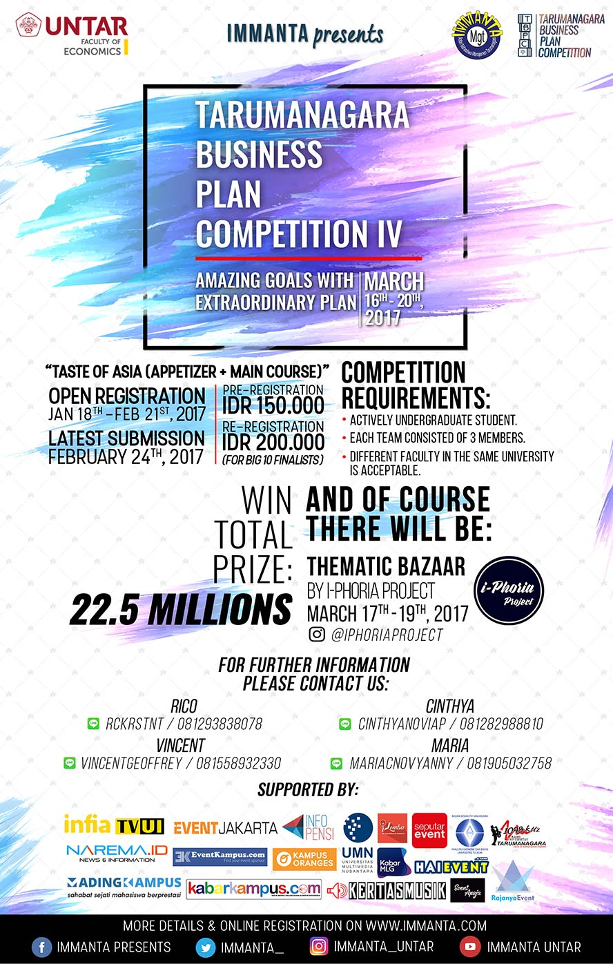 Tarumanagara Business Plan Competition IV - UNTAR, 16 - 21 Maret 2017