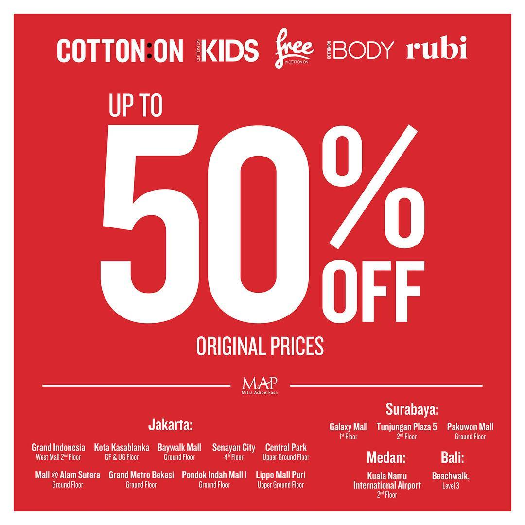 Cotton On Sale Up to 50%, Periode Maret 2017