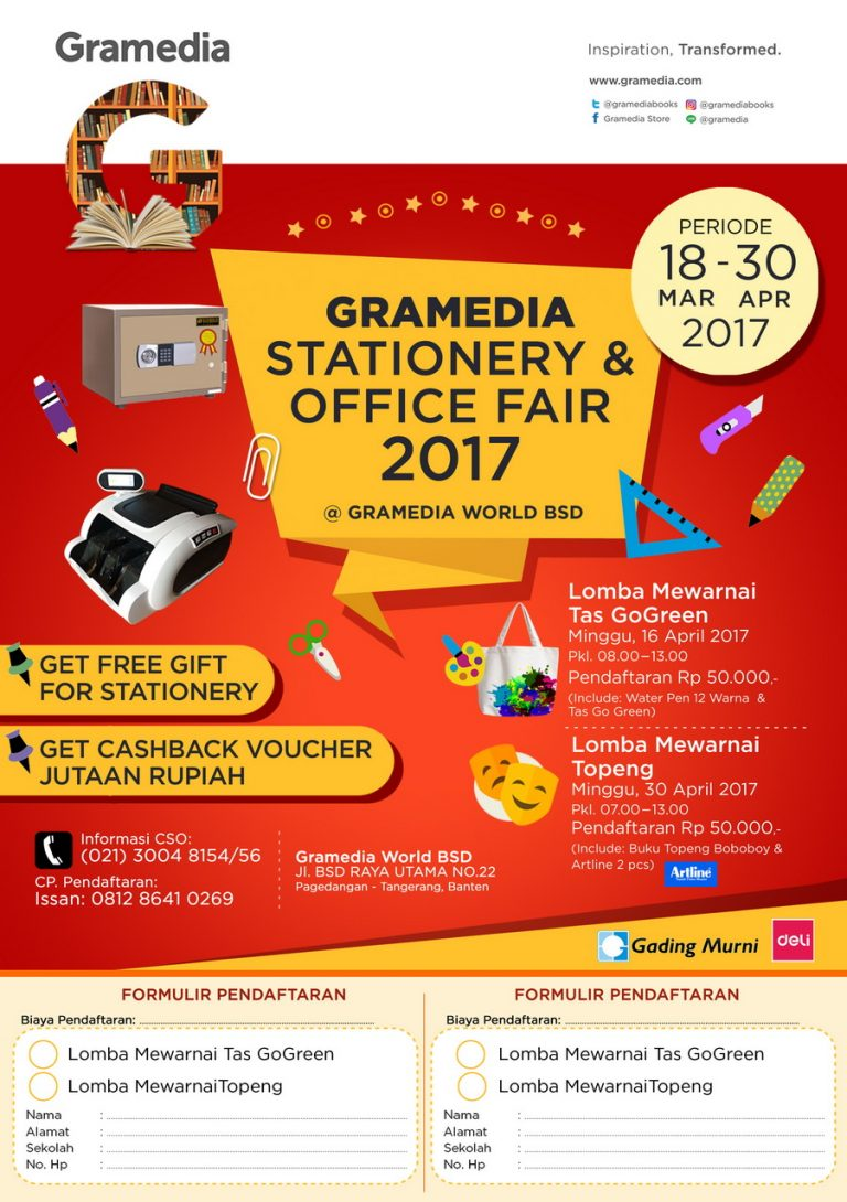 Gamedia Stationery & Office Fair - Gramedia World BSD, 18 Maret - 30 April 2017