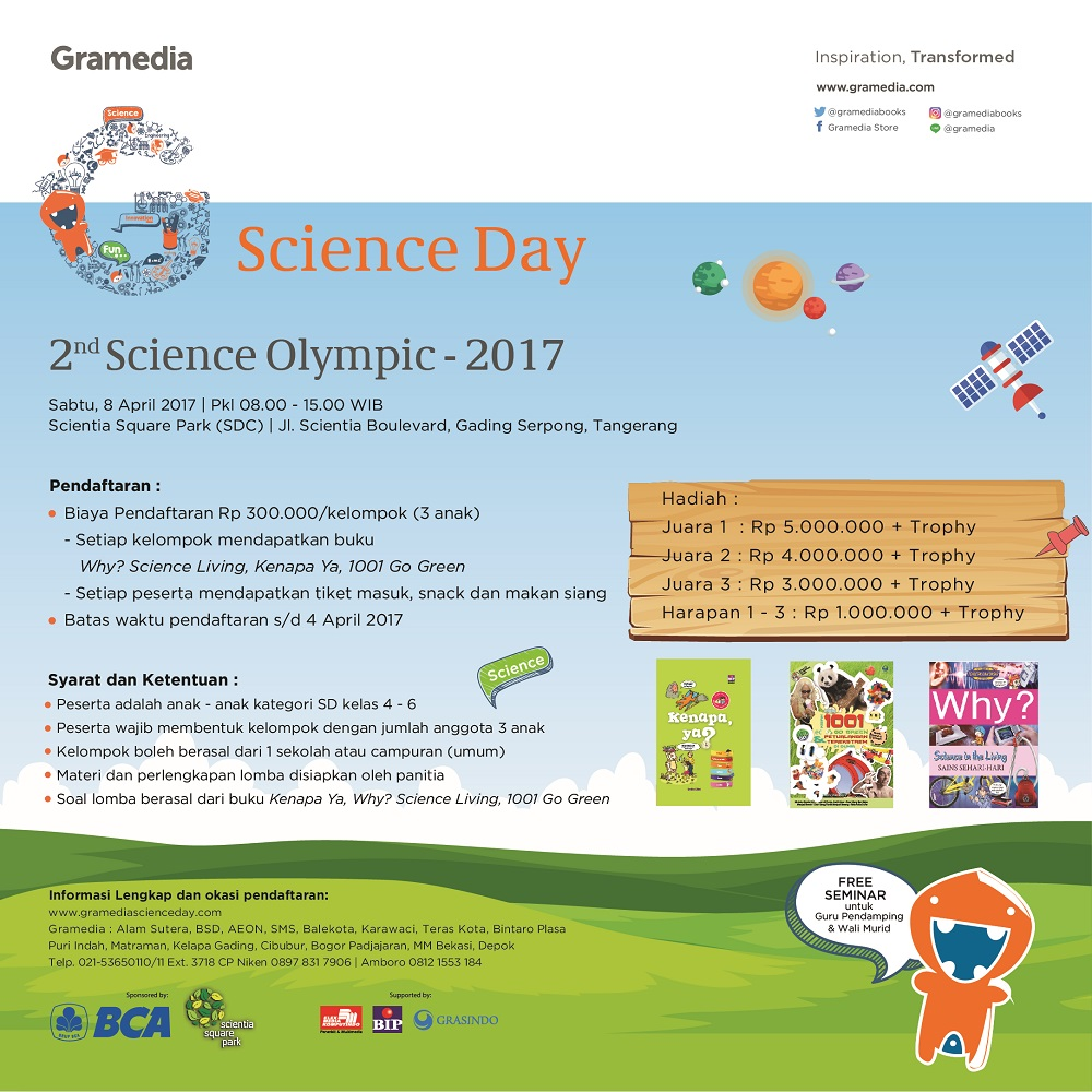 Gramedia Science Day 2nd Science Olympic - Scientia Square Park, 8 April 2017
