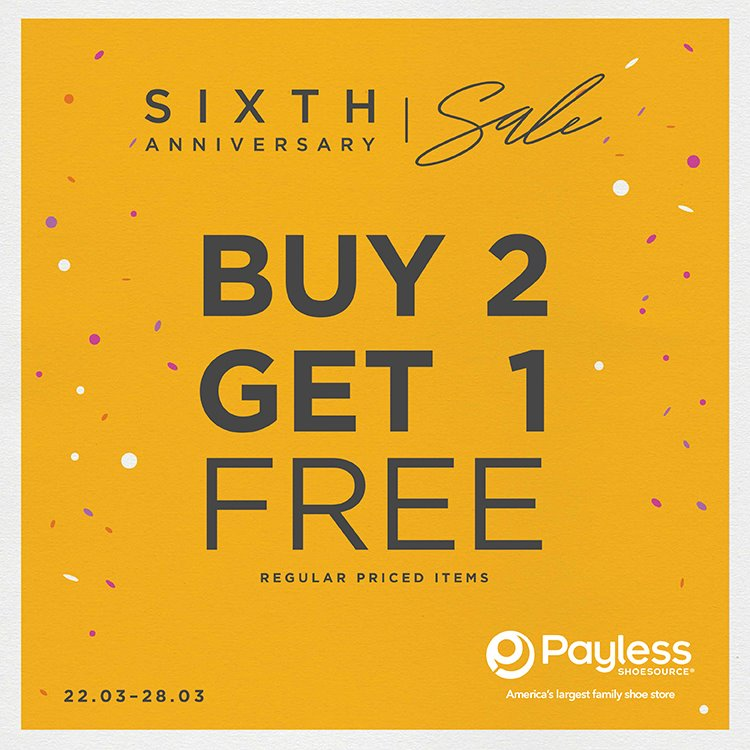 Payless Buy 2 Get 1 Free, Periode 22 - 28 Maret 2017