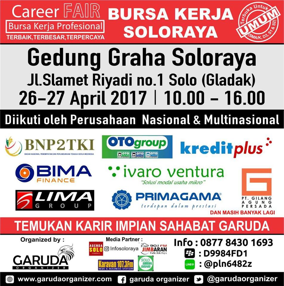Bursa Kerja & Career Fair Solo - Gedung Graha Soloraya, 26 - 27 April 2017