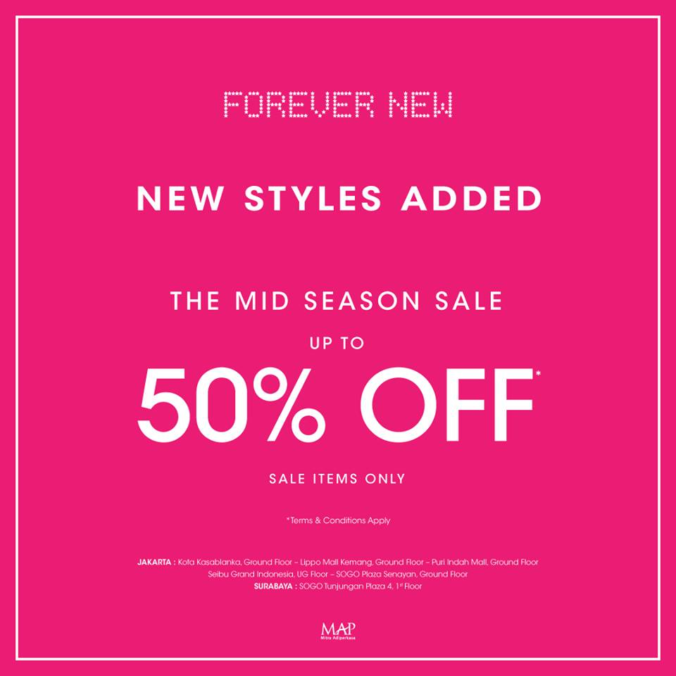 Forever New Mid Season Sale, Periode Sampai 16 April 2017Forever New Mid Season Sale, Periode Sampai 16 April 2017