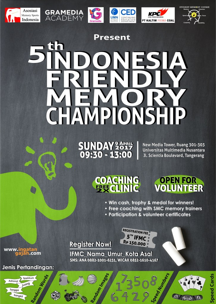 Indonesia Friendly Memory Championship (IFMC) - Universitas Multimedia Nusantara, 9 April 2017