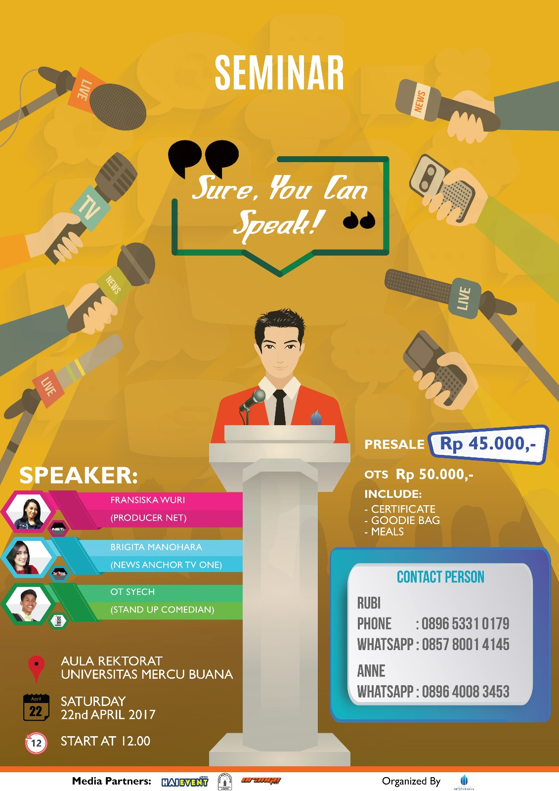 Sure, You Can Speak! - Aula Rektorat Mercu Buana Jakarta, 22 April 2017