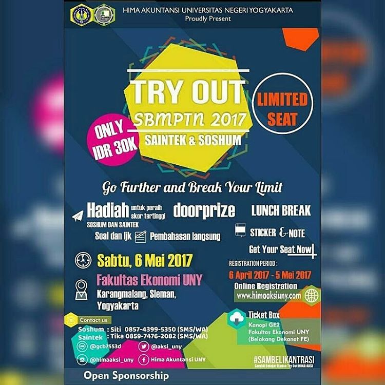 "Try Out SBMPTN ""Go Further and Break Your Limit"" - Universitas Negeri Yogyakarta, 6 Mei 2017"