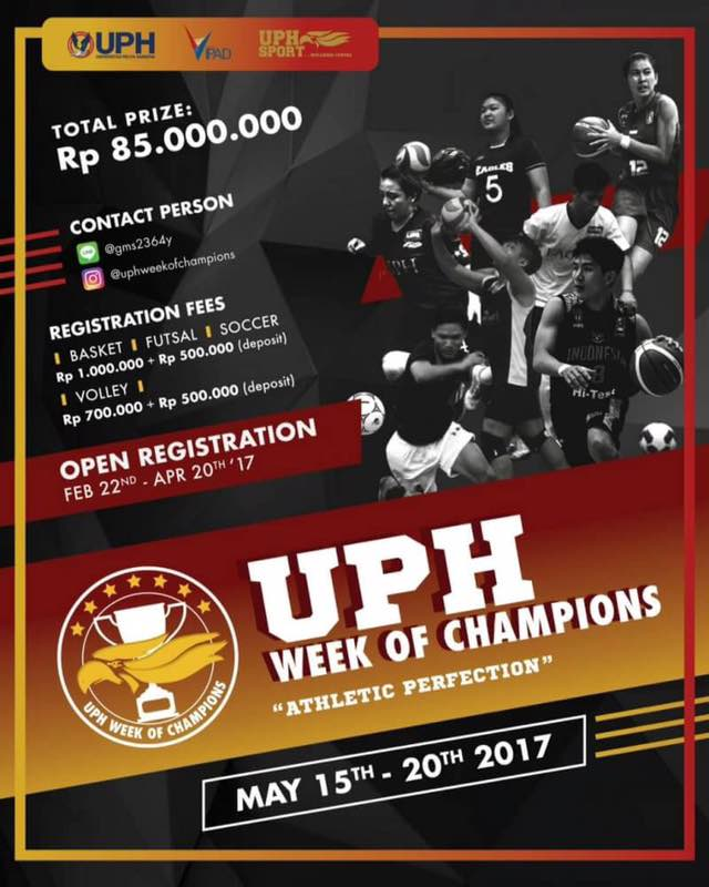 """UPH Week Of Champions """"Athletic Perfection"""", 15 - 20 Mei 2017"""