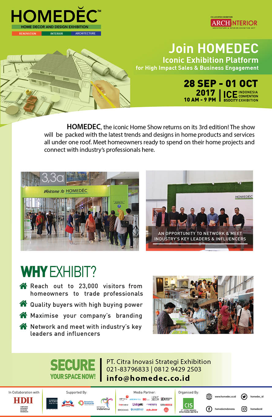 HOMEDEC - Indonesia Convention Exhibition (ICE), 28 Sept - 01 Okt 2017