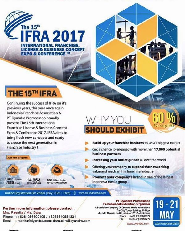 International Franchise License & Business Concept Expo & Conference (IFRA) - JCC, 19 - 21 Mei 2017
