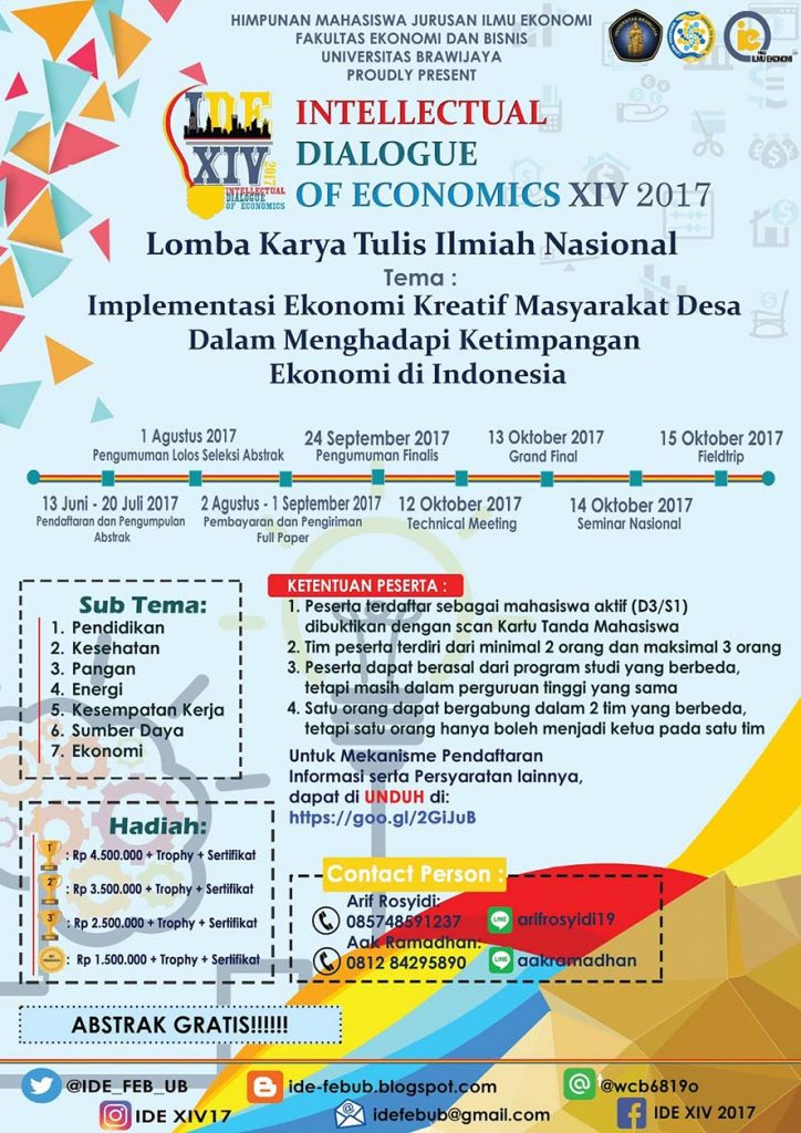 Call For The Best Idea : Intellectual Dialogue of Economics XIV (IDE XIV) 2017