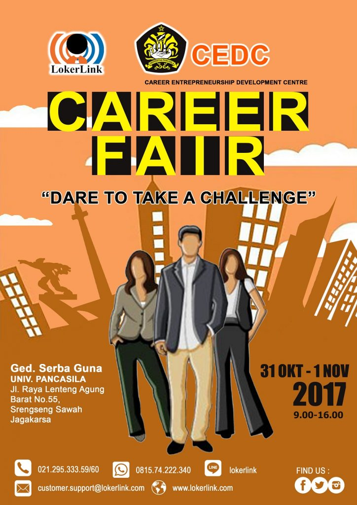 Career Fair Lokerlink, Dare to Take a Challenge - Gedung Serbaguna Universitas Pancasila, 31 Okt-1 Nov 2017