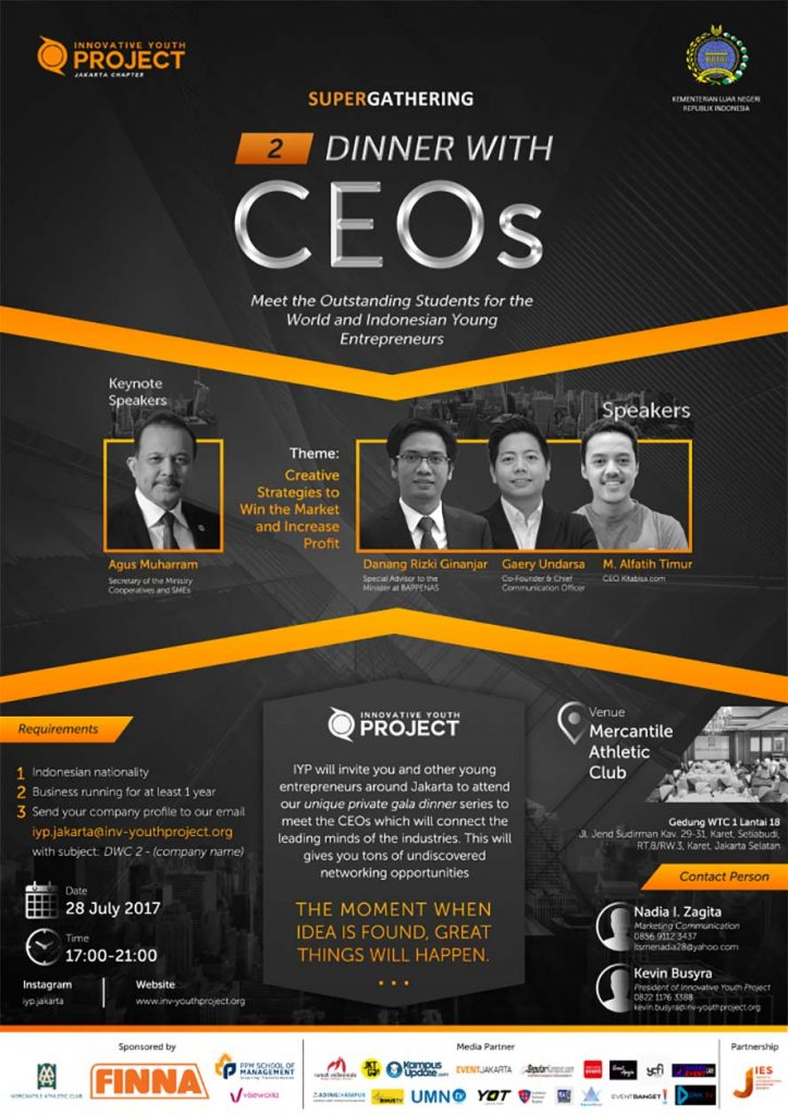 Dinner with CEOs 2 - Mercantile Athletic Club Jakarta, 28 Juli 2017