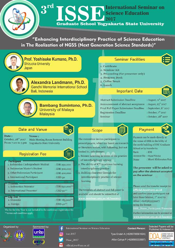 3rd International Seminar on Science Education (ISSE) 2017 - Universitas Negeri Yogyakarta