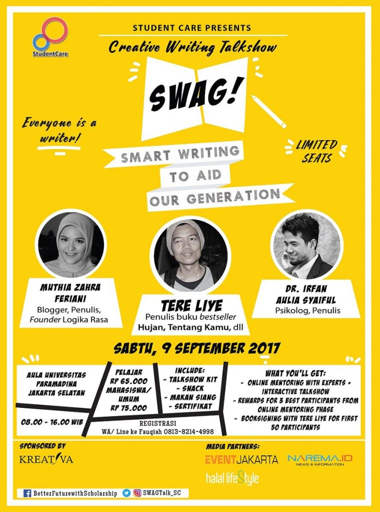 Creative Writing Talkshow: SWAG! (Smart Writing to Aid Our Generation) - Universitas Paramadina, 9 Sept 2017
