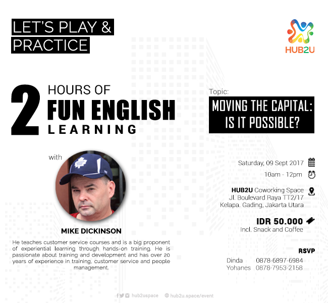 Let's Play & Practice : 2 Hours of Fun English Learning - HUB2U Coworking Space, 9 Sep 2017