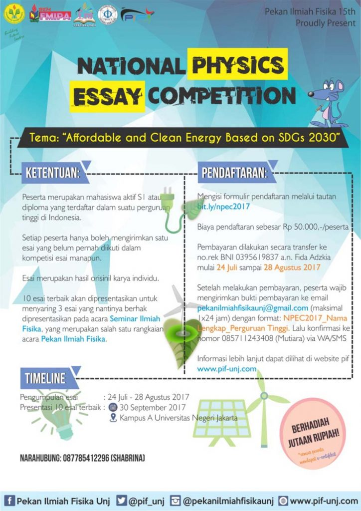 PIF UNJ : National Physics Essay Competition 2017