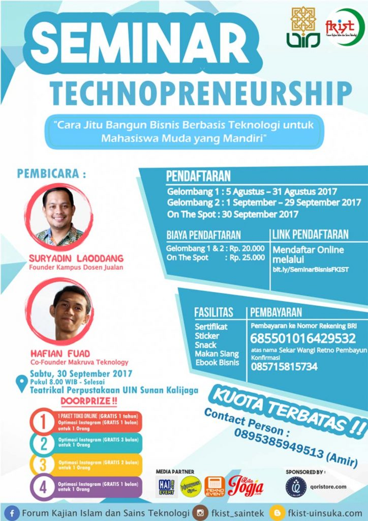 Seminar Technopreneurship - UIN Sunan Kalijaga, 30 September 2017