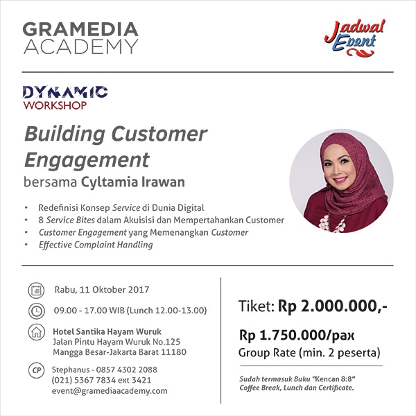 "Dynamic Workshop ""Building Customer Engagement"" - Hotel Santika Hayam Wuruk Jakarta, 11 Okt 2017"
